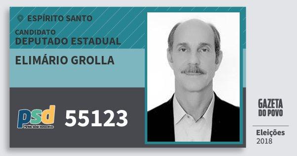 Santinho Elimário Grolla 55123 (PSD) Deputado Estadual | Espírito Santo | Eleições 2018