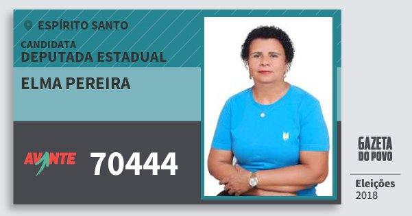 Santinho Elma Pereira 70444 (AVANTE) Deputada Estadual | Espírito Santo | Eleições 2018