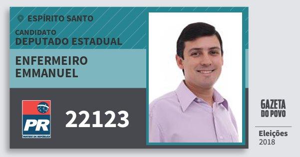 Santinho Enfermeiro Emmanuel 22123 (PR) Deputado Estadual | Espírito Santo | Eleições 2018