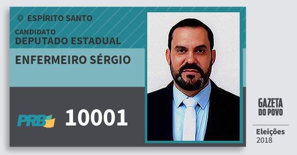 Santinho Enfermeiro Sérgio 10001 (PRB) Deputado Estadual | Espírito Santo | Eleições 2018