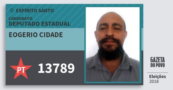 Santinho Eogerio Cidade 13789 (PT) Deputado Estadual | Espírito Santo | Eleições 2018