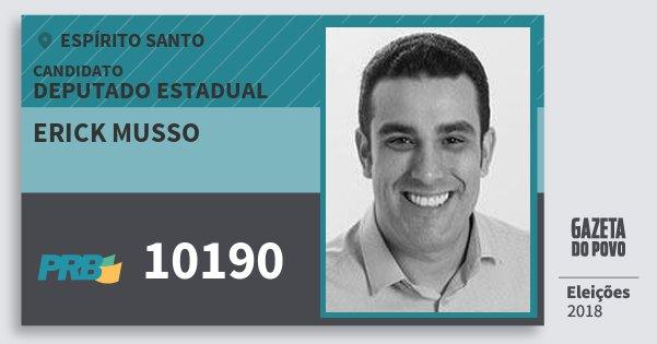 Santinho Erick Musso 10190 (PRB) Deputado Estadual | Espírito Santo | Eleições 2018