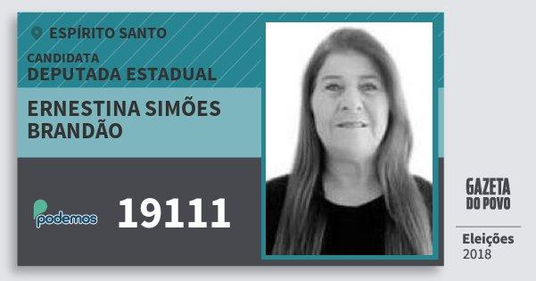 Santinho Ernestina Simões Brandão 19111 (PODE) Deputada Estadual | Espírito Santo | Eleições 2018
