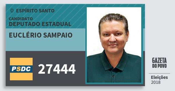 Santinho Euclério Sampaio 27444 (DC) Deputado Estadual | Espírito Santo | Eleições 2018