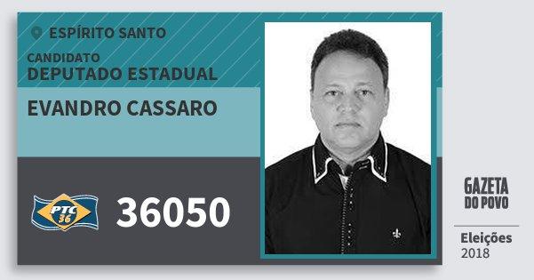 Santinho Evandro Cassaro 36050 (PTC) Deputado Estadual | Espírito Santo | Eleições 2018