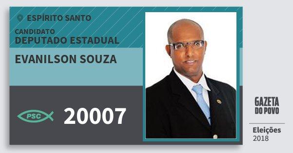 Santinho Evanilson Souza 20007 (PSC) Deputado Estadual | Espírito Santo | Eleições 2018