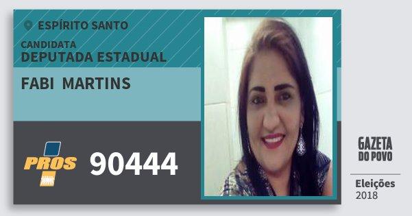 Santinho Fabi  Martins 90444 (PROS) Deputada Estadual | Espírito Santo | Eleições 2018