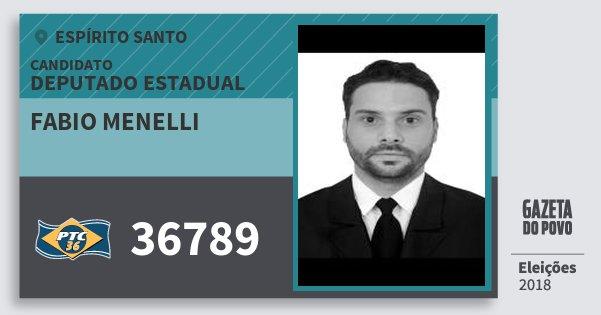 Santinho Fabio Menelli 36789 (PTC) Deputado Estadual | Espírito Santo | Eleições 2018