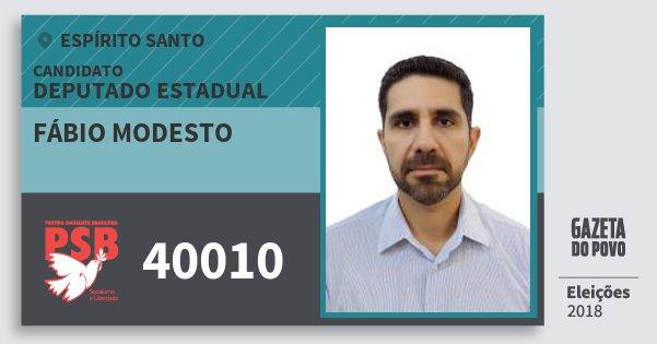 Santinho Fábio Modesto 40010 (PSB) Deputado Estadual | Espírito Santo | Eleições 2018