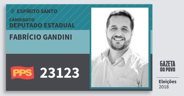Santinho Fabrício Gandini 23123 (PPS) Deputado Estadual | Espírito Santo | Eleições 2018