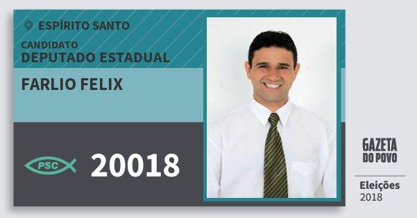 Santinho Farlio Felix 20018 (PSC) Deputado Estadual | Espírito Santo | Eleições 2018