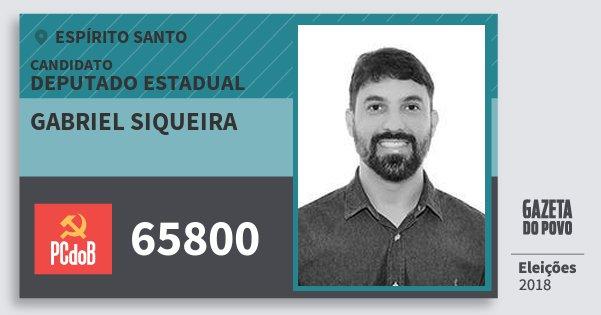 Santinho Gabriel Siqueira 65800 (PC do B) Deputado Estadual | Espírito Santo | Eleições 2018