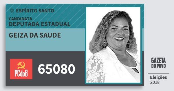 Santinho Geiza da Saude 65080 (PC do B) Deputada Estadual | Espírito Santo | Eleições 2018