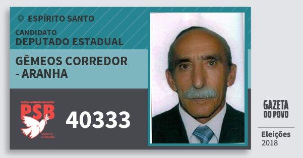 Santinho Gêmeos Corredor - Aranha 40333 (PSB) Deputado Estadual | Espírito Santo | Eleições 2018