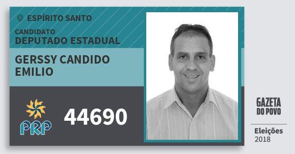 Santinho Gerssy Candido Emilio 44690 (PRP) Deputado Estadual | Espírito Santo | Eleições 2018