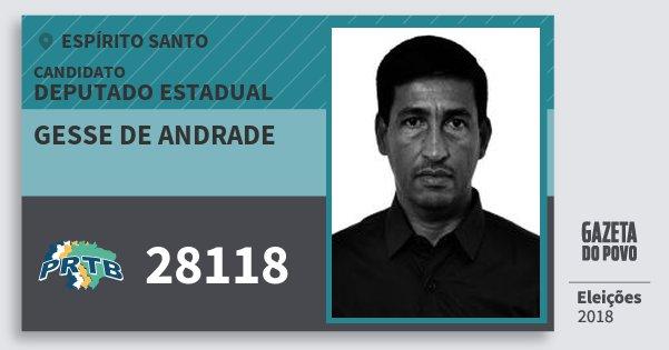 Santinho Gesse de Andrade 28118 (PRTB) Deputado Estadual | Espírito Santo | Eleições 2018