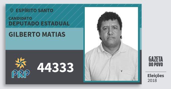Santinho Gilberto Matias 44333 (PRP) Deputado Estadual | Espírito Santo | Eleições 2018