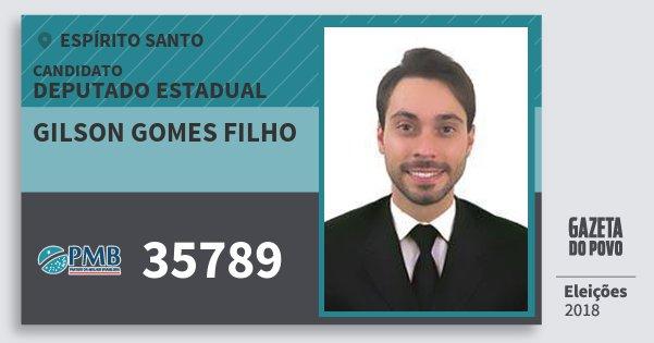 Santinho Gilson Gomes Filho 35789 (PMB) Deputado Estadual | Espírito Santo | Eleições 2018