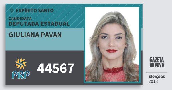 Santinho Giuliana Pavan 44567 (PRP) Deputada Estadual | Espírito Santo | Eleições 2018