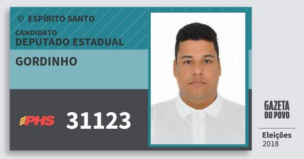 Santinho Gordinho 31123 (PHS) Deputado Estadual | Espírito Santo | Eleições 2018