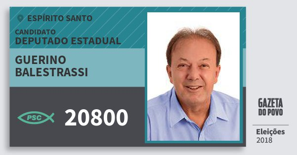 Santinho Guerino Balestrassi 20800 (PSC) Deputado Estadual | Espírito Santo | Eleições 2018