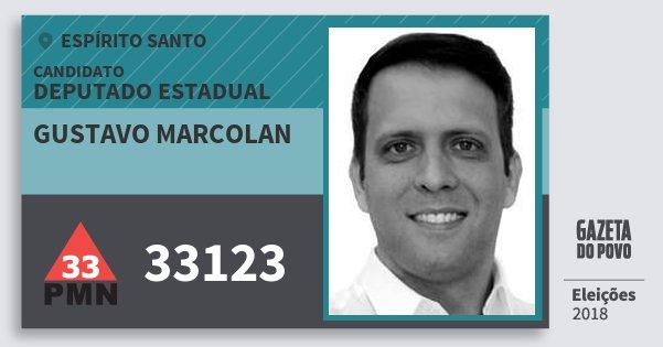 Santinho Gustavo Marcolan 33123 (PMN) Deputado Estadual | Espírito Santo | Eleições 2018