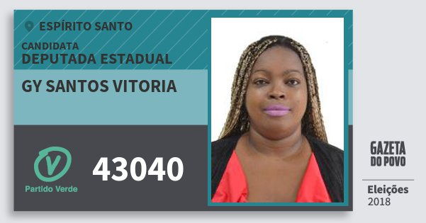 Santinho Gy Santos Vitoria 43040 (PV) Deputada Estadual | Espírito Santo | Eleições 2018