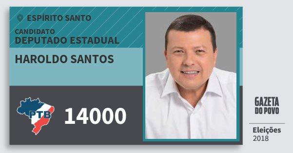 Santinho Haroldo Santos 14000 (PTB) Deputado Estadual   Espírito Santo   Eleições 2018