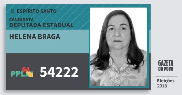 Santinho Helena Braga 54222 (PPL) Deputada Estadual | Espírito Santo | Eleições 2018