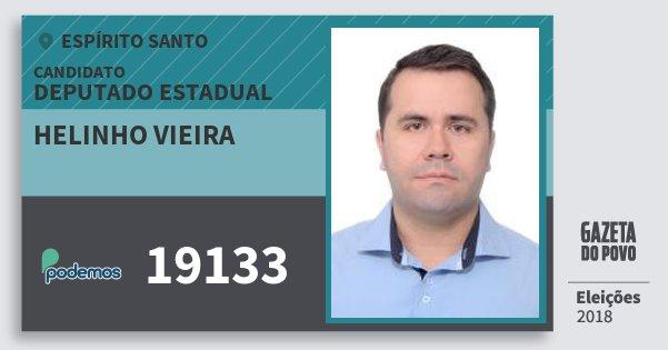 Santinho Helinho Vieira 19133 (PODE) Deputado Estadual | Espírito Santo | Eleições 2018