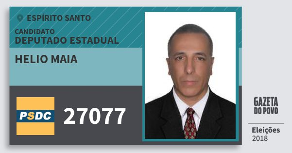 Santinho Helio Maia 27077 (DC) Deputado Estadual | Espírito Santo | Eleições 2018