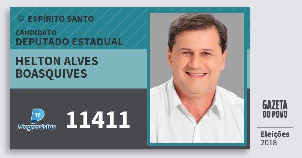 Santinho Helton Alves Boasquives 11411 (PP) Deputado Estadual | Espírito Santo | Eleições 2018