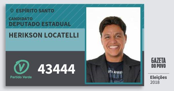Santinho Herikson Locatelli 43444 (PV) Deputado Estadual | Espírito Santo | Eleições 2018