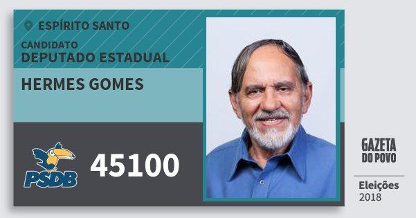 Santinho Hermes Gomes 45100 (PSDB) Deputado Estadual | Espírito Santo | Eleições 2018