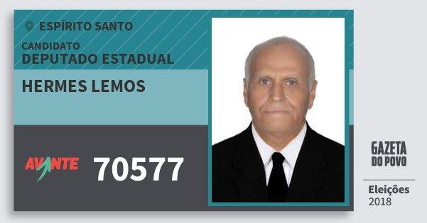 Santinho Hermes Lemos 70577 (AVANTE) Deputado Estadual | Espírito Santo | Eleições 2018
