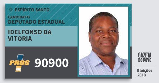 Santinho Idelfonso da Vitoria 90900 (PROS) Deputado Estadual | Espírito Santo | Eleições 2018
