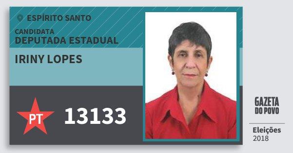 Santinho Iriny Lopes 13133 (PT) Deputada Estadual | Espírito Santo | Eleições 2018