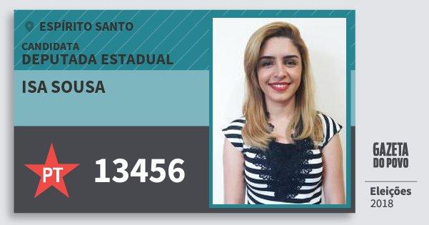 Santinho Isa Sousa 13456 (PT) Deputada Estadual | Espírito Santo | Eleições 2018