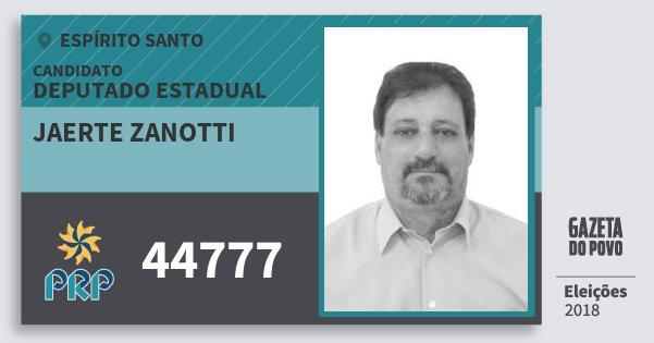 Santinho Jaerte Zanotti 44777 (PRP) Deputado Estadual | Espírito Santo | Eleições 2018