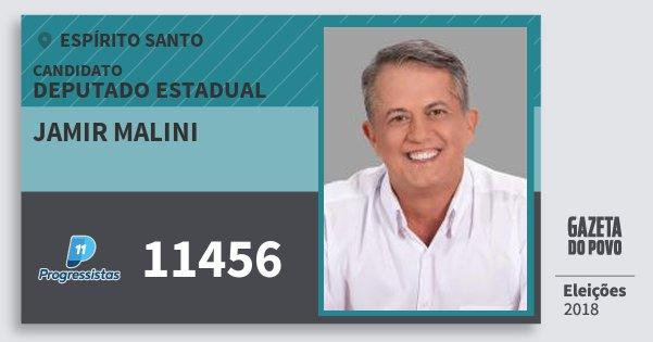 Santinho Jamir Malini 11456 (PP) Deputado Estadual | Espírito Santo | Eleições 2018