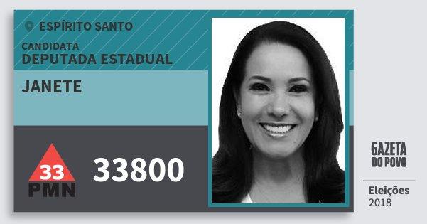Santinho Janete 33800 (PMN) Deputada Estadual | Espírito Santo | Eleições 2018