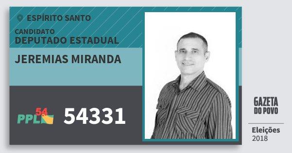 Santinho Jeremias Miranda 54331 (PPL) Deputado Estadual | Espírito Santo | Eleições 2018