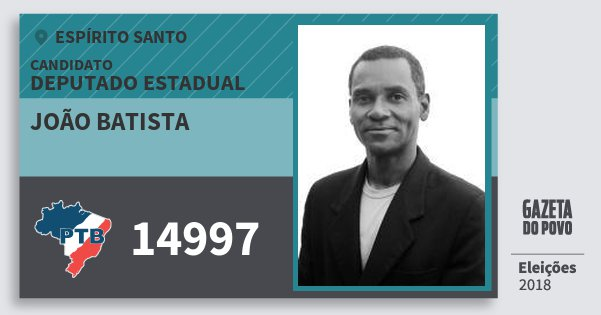 Santinho João Batista 14997 (PTB) Deputado Estadual | Espírito Santo | Eleições 2018
