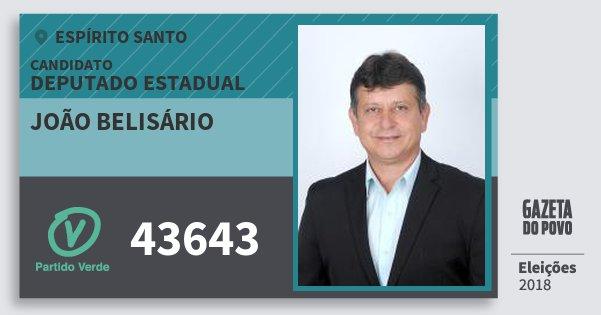 Santinho João Belisário 43643 (PV) Deputado Estadual | Espírito Santo | Eleições 2018