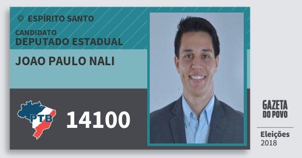 Santinho Joao Paulo Nali 14100 (PTB) Deputado Estadual | Espírito Santo | Eleições 2018