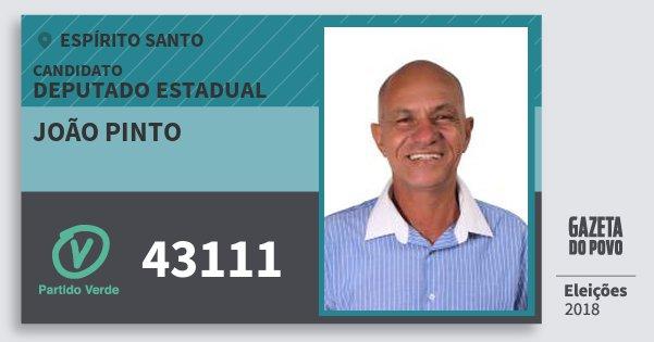 Santinho João Pinto 43111 (PV) Deputado Estadual | Espírito Santo | Eleições 2018
