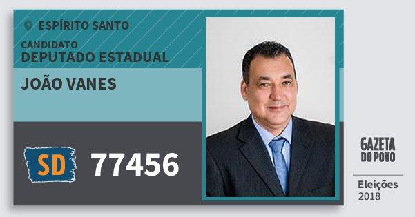 Santinho João Vanes 77456 (SOLIDARIEDADE) Deputado Estadual | Espírito Santo | Eleições 2018