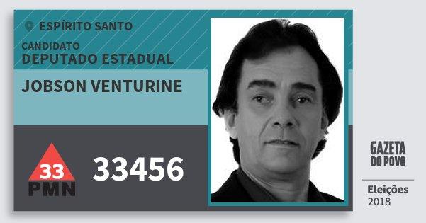 Santinho Jobson Venturine 33456 (PMN) Deputado Estadual | Espírito Santo | Eleições 2018