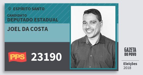Santinho Joel da Costa 23190 (PPS) Deputado Estadual | Espírito Santo | Eleições 2018