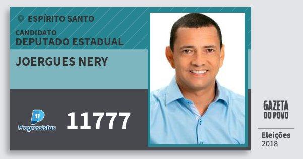 Santinho Joergues Nery 11777 (PP) Deputado Estadual | Espírito Santo | Eleições 2018